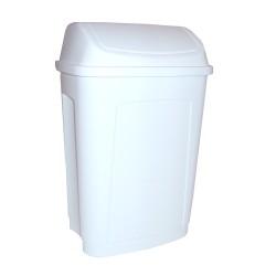 POUBELLE COUV BASCULANT 50L PLAST BLANC